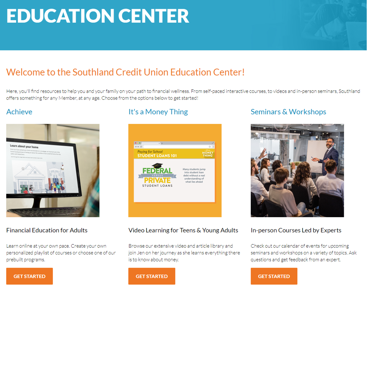 screenshot of education center